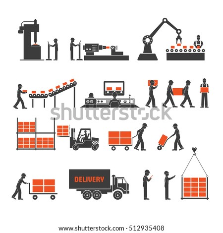 Shutterstock icons production lines of the conveyor