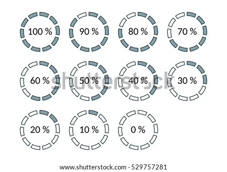 Icons progress bar with percentage marks. 0, 10, 20, 30, 40, 50, 60, 70, 80, 90, 100. The round shape with the filled and empty risks For mobile applications web and desktop.