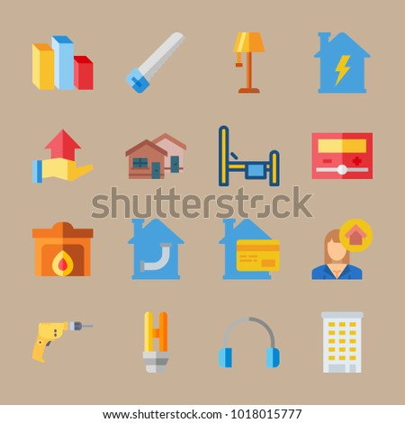 icons Real Assets with driller, lamp, headphones, hacksaw and chart