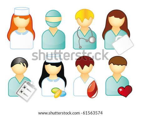 icons representing people and medical business isolated over white. Nurse and doctor.