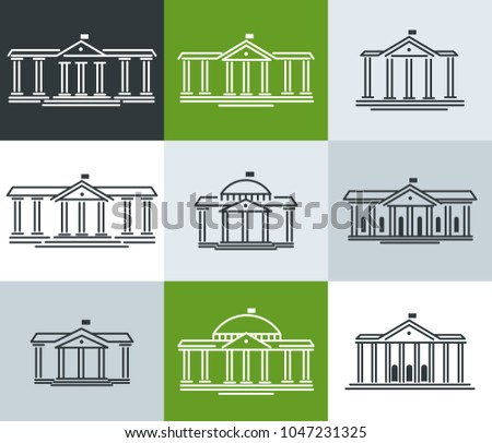 Icons, school, educational institution, municipality, administration, city hall. Vector