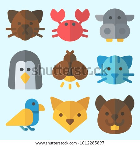 Icons set about Animals with bird, hippopatamus, crab, squirrel, firefly and fox