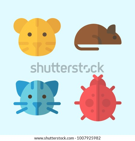 Icons set about Animals with tiger, cat, ladybug and rat