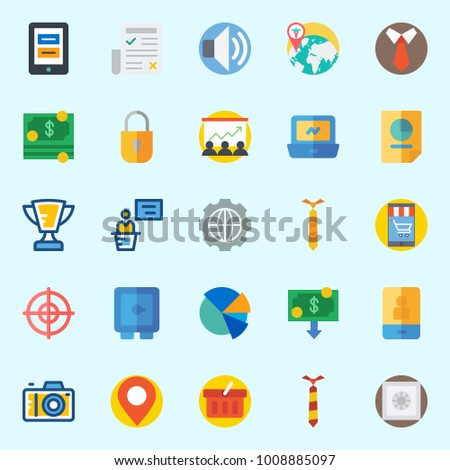 Icons set about Digital Marketing with presentation, stats, money, worldwide, location and settings