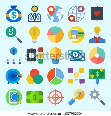 Icons set about Marketing with user, money, search, worldwide, location and rgb