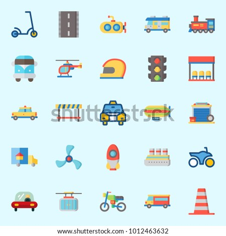 Icons set about Transportation with motorbike, bus stop, car, cruise ship, locomotive and bus