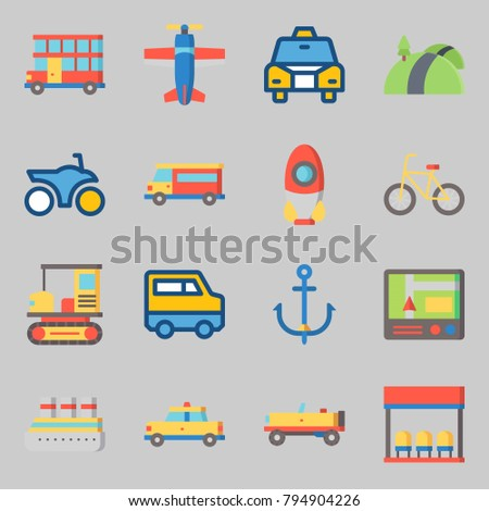 Icons set about Transportation. with motorbike, double decker and van