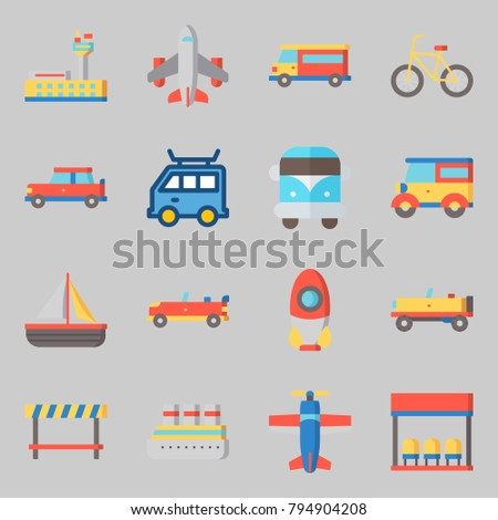 Icons set about Transportation. with rocket, road block and bicycle