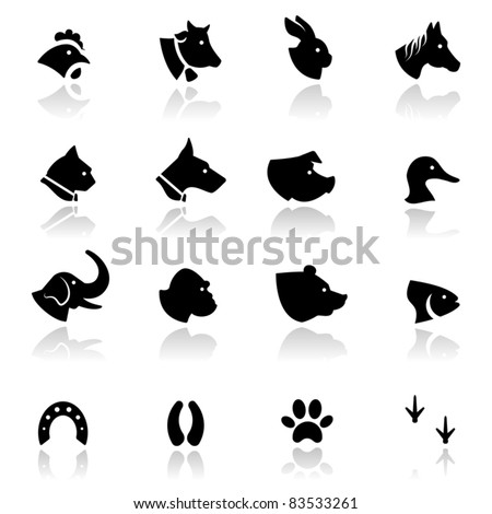 Icons set Animals