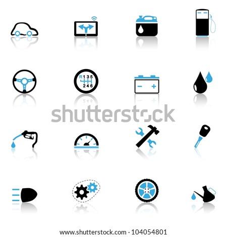 Icons set Auto parts - stock vector