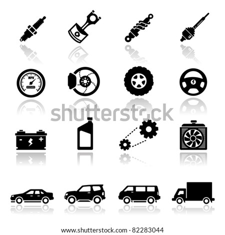 Auto Racing Equipment on Icons Set Auto Parts Stock Vector 82283044   Shutterstock