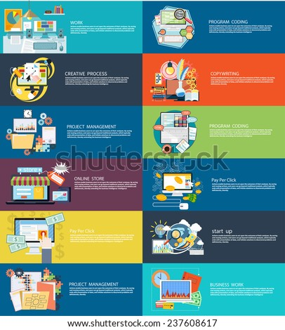 Icons set banners for business work, creative process, program coding, pay per click, online store, copywriting, start up and project management in flat design