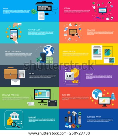 Icons set banners for business work, mobile payment, pay per click, brand design, creative process, banking, analysis in flat design