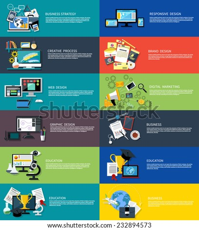 Icons set banners for creative process, business strategy, web graphic, responsive and brand design, digital marketing, education in flat design