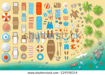 icons set beach elements and