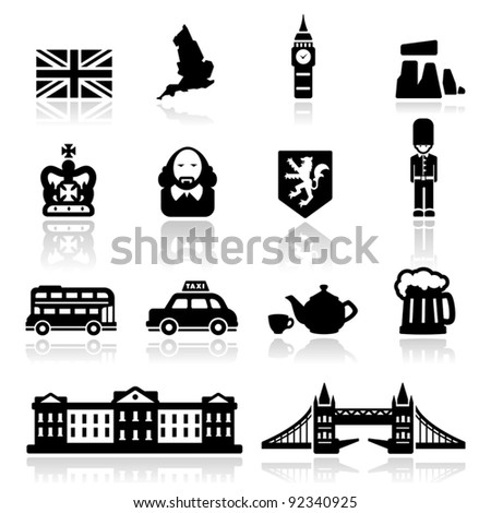 Icons set British Culture - stock vector