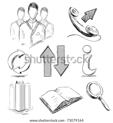 Icons set business communications web arrows search book info phone group in sketch style