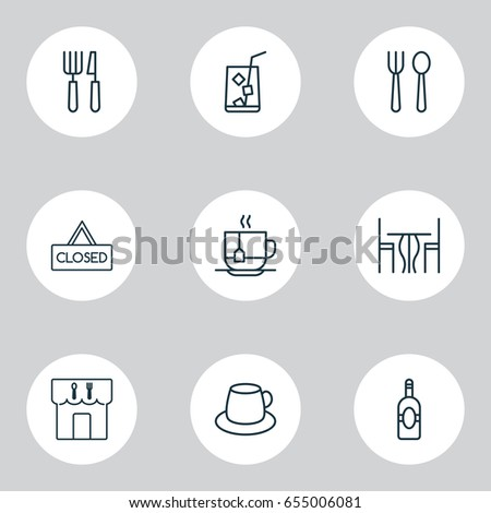 icons set collection of fork