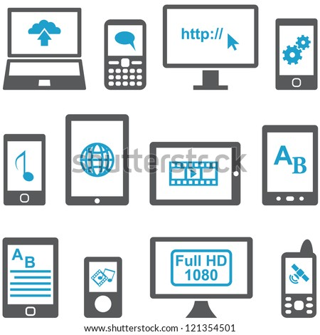 Icons set computers and mobile devices vector. Multimedia concept.