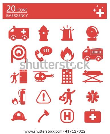 Icons set ,Emergency icons set. Illustration