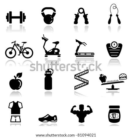 Icons set Fitness - stock vector