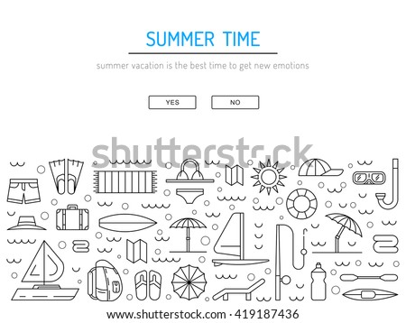 Icons set for summer holiday and travel. Elements on the theme of summer, travel, trekking, vacation, weekend beach vacation. Summer icons flat, outline. Icon summer time. Icon hello summer. Summer