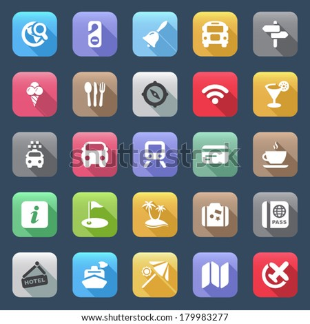 icons set for travel colorful