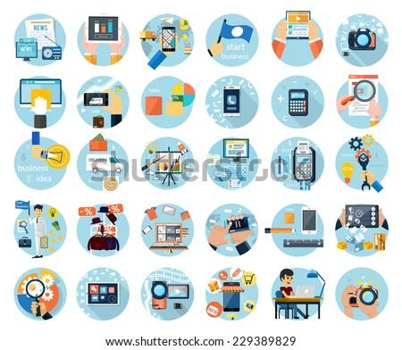 Icons set for web design, digital marketing, delivery, payment, online shop, content, business, social media, clothes sale in flat design