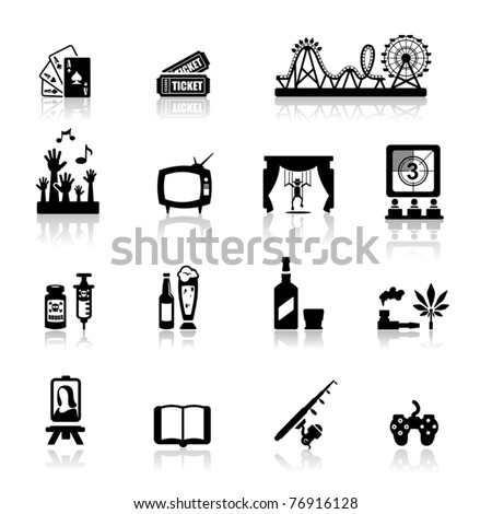 Icons set fun and entertainment 	 - stock vector