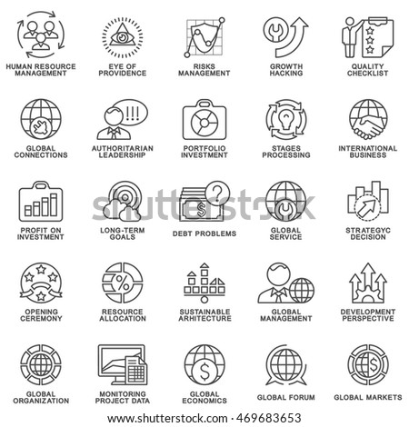 Icons set global business, economics and marketing. The thin contour lines.