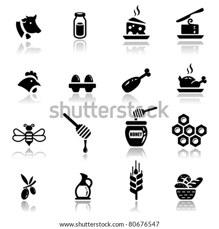 Icons set Icons set Dairy and natural products