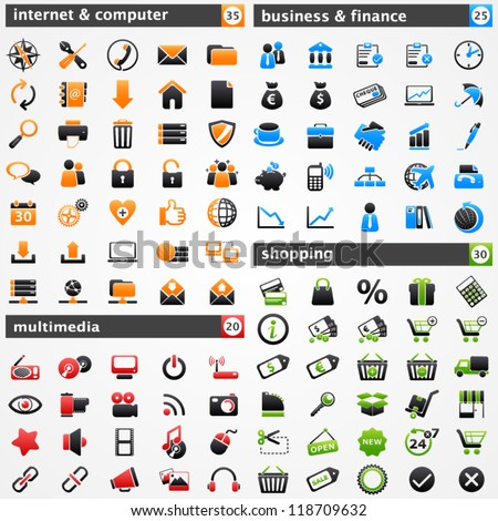 Icons set. Internet and computer, multimedia, business and finances, and shopping concepts.
