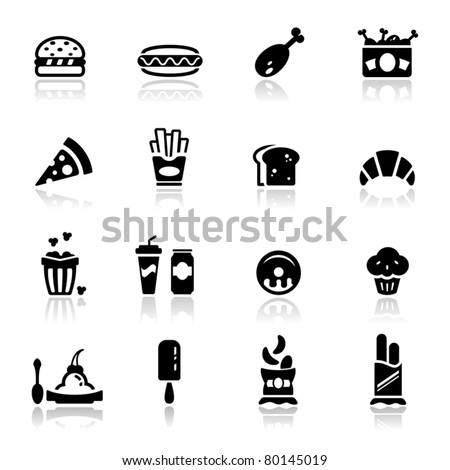 Icons set Junk food