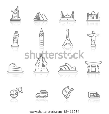 icons set  landmark- outlines series