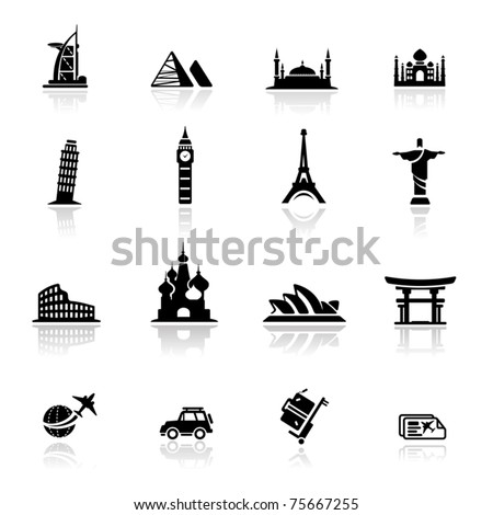 icons set  landmarks and