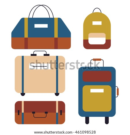 Icons set of bags and suitcases in flat design. Vector Illustration. Isolated baggage in vintage colors