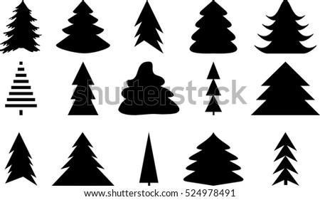 icons set of christmas tree