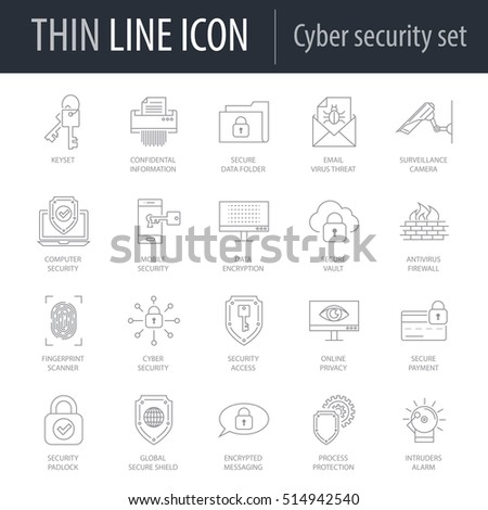 Icons Set of Cyber Security. Symbol of Intelligent Thin Line Image Pack. Stroke Pictogram Graphic for Web Design. Quality Outline Vector Symbol Concept Collection. Premium Mono Linear