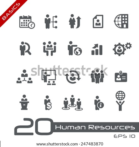 Icons Set of Human Resources and Business Management // Basics