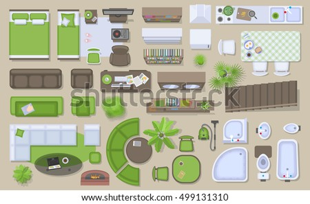 floor plan with furniture. icons set of interior top view isolated vector illustration furniture and elements floor plan with n