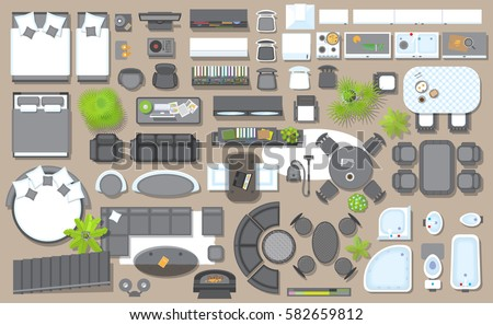 furniture for floor plans. icons set of interior top view isolated vector illustration furniture and elements for floor plans 2