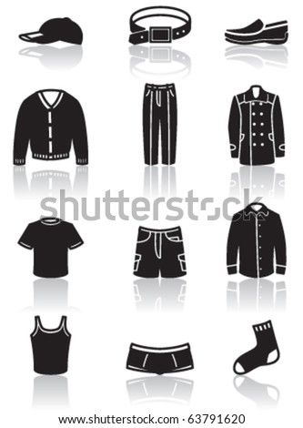 Icons set of men clothes and accessory