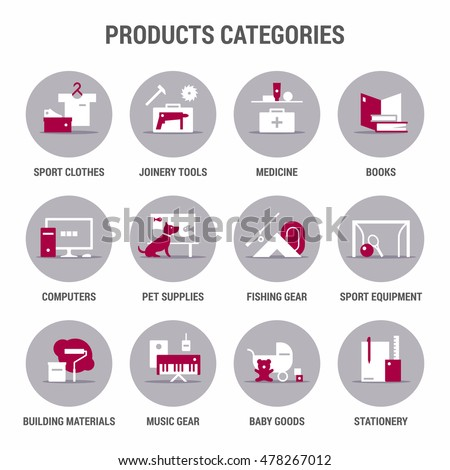 icons set of products