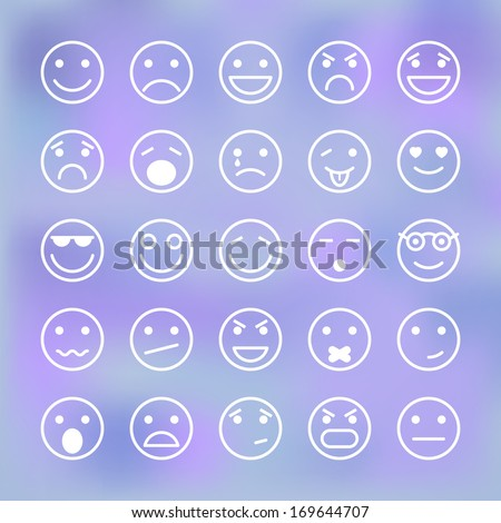 Icons set of smiley faces for mobile application interface isolated vector illustration