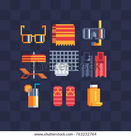 Icons set of summer time beach. Flat pixel art. Volleyball, snorkel,  flippers, orange juice, sunglasses, flip flops, umbrella and sun lounger. Isolated vector illustration.