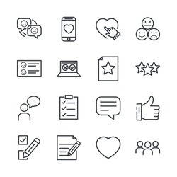 Icons Set of Survey Related Vector Simple Line. Management line icon. Startup strategy and Employees linear symbol. Customer Opinion, Web Survey and more, Startup and Teamwork symbols for web