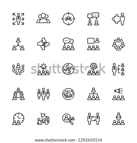 Icons set of teamwork, office, business and people. Editable vector stroke 64x64 Pixel. #1292650156