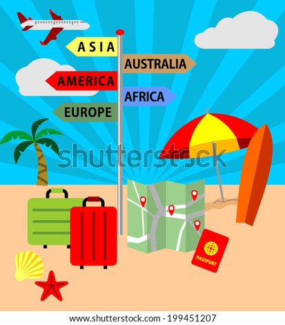 Icons set of traveling, planning a summer vacation, tourism and journey objects