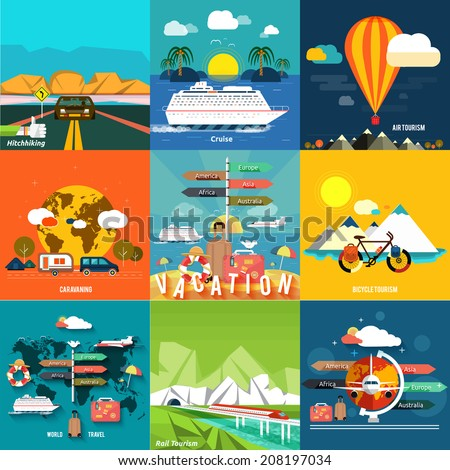 Icons set of traveling, planning a summer vacation, tourism and journey objects, hitchhiking and passenger luggage in flat design. Different types of travel. Business travel concept