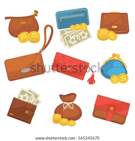 Shutterstock Icons set of wallets with money shopping. Purse with cash. Business and finance symbols. Vector illustration in cartoon style. Isolated on black background